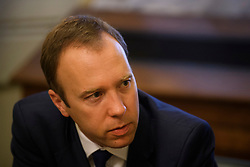 © Licensed to London News Pictures. 14/06/2019. London, UK. Health Secretary MATT HANCOCK is seen at the Houses of Parliament in London on JUNE 14, 2019 shortly before standing down in the Conservative party leadership contest. Boris Johnson has cemented his position as favourite to become the next Prime Minster after winning a landslide in the first round of the conservative party's leadership race, with Jeremy Hunt a distant second. Photo credit: Ben Cawthra/LNP
