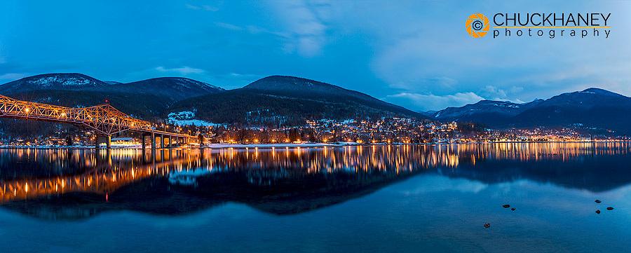 City Lights reflect into Kootenay Lake in Nelson, British Columbia, Canada