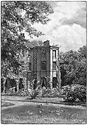 Down House, near Beckenham, Kent, from the garden. Home of Charles Darwin (1809-1882), English naturalist. Evolution by Natural Selection. Engraving 1882.