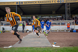 Players at the start of the match. Cove Rangers have become the SPFL's newest side and ended Berwick Rangers' 68-year stay in Scotland's senior leagues by earning a League Two place. Berwick Rangers 0 v 3 Cove Rangers, League Two Play-Off Second Leg played 18/5/2019 at Berwick Rangers Stadium Shielfield Park.