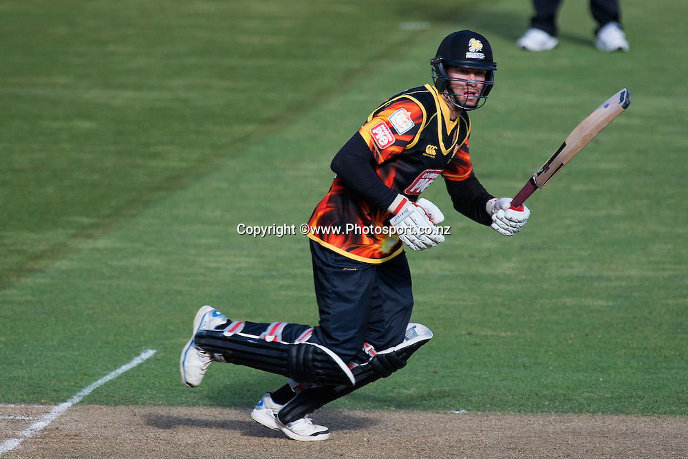 Stephen Murdoch of the Firebirds bats during the Georgie Pie Super Smash Firebirds v Stags cricket match at the Westpac Stadium in Wellington on Sunday the 23rd of November 2014. Photo by Marty Melville/www.Photosport.co.nz
