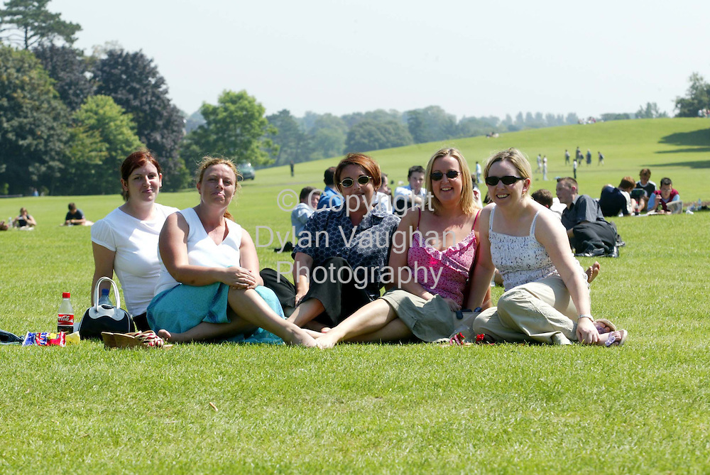 8/8/2003.Sinead Brennan, Teresa Comeford, Elaine Phelan, Niamh Dooley and Amy MacClean pictured enjoying the weather in the Castle Park in KIlkenny..Picture Dylan Vaughan