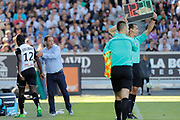 Lassana COULIBALY (SCO Angers) and Stephane MOULIN (SCO Angers) during the French championship L1 football match between SCO Angers and Bordeaux on August 6th, 2017 at Raymond-Kopa stadium, France - PHOTO Stéphane Allaman / ProSportsImages / DPPI