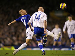 Liverpool, England - Wednesday, December 5, 2007: Everton's James Vaughan and Zenit St. Petersburg's Erik Hagen during the UEFA Cup Group A match at Goodison Park. (Photo by David Rawcliffe/Propaganda)