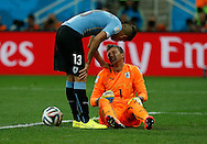 Fernando Muslera and José Giménez of Uruguay during the 2014 FIFA World Cup match at Arena Corinthians, Sao Paulo<br /> Picture by Andrew Tobin/Focus Images Ltd +44 7710 761829<br /> 19/06/2014