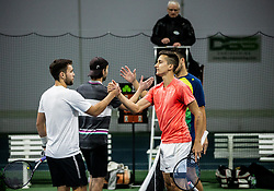 Sven Lah and Toni Hazdovac congrats to winners  Bor Muzar Schweiger and Aljaz Jakob Kaplja after playing final match during Slovenian men's doubles tennis Championship 2019, on December 29, 2019 in Medvode, Slovenia. Photo by Vid Ponikvar/ Sportida