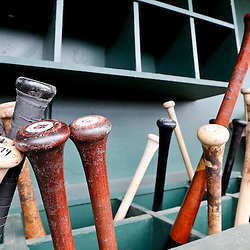 Mar 3, 2013; Sarasota, FL, USA; Bats in the dugout before a spring training game between the Baltimore Orioles and the Philadelphia Phillies at Ed Smith Stadium. Mandatory Credit: Derick E. Hingle-USA TODAY Sports