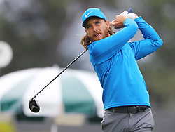 April 7, 2018 - Augusta, GA, USA - Tommy Fleetwood hits from the 1st tee during the third round of the Masters Tournament on Saturday, April 7, 2018, at Augusta National Golf Club in Augusta, Ga. (Credit Image: © Curtis Compton/TNS via ZUMA Wire)