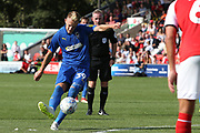 AFC Wimbledon striker Joe Pigott (39) takes thefree kick on the edge of the box during the EFL Sky Bet League 1 match between Fleetwood Town and AFC Wimbledon at the Highbury Stadium, Fleetwood, England on 4 August 2018. Picture by Craig Galloway.