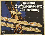 World War I 1914-1918:  Demonstration of German airforce effectiveness. 1918 German propaganda poster of British biplane going down in flames. Sigmund Suchodolski (1875-1935) German artist. Aircraft Aerial Warfare