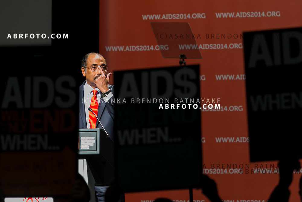 Executive Director of UNAIDS Michel Sidibé speaks during the official opening ceremony of the 20th International AIDS conference held in Melbourne Australia on July 20, 2014. This conference takes place a few days after the death of a number of high profile delegates and researchers due to attend whom flew on Malaysian Airlines flight MH17. Photo credit : Asanka Brendon Ratnayake
