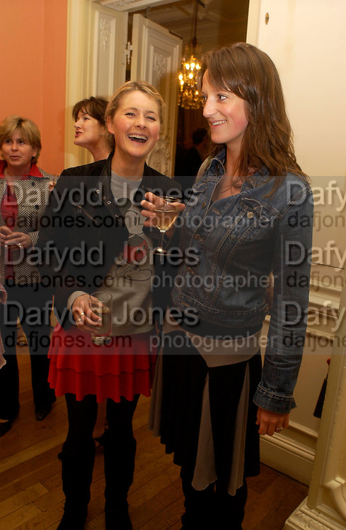 Kinvara Balfour and  Claire Scott, Party to celebrate the publication of ' The Swallow and the Hummingbird by Santa Sebag-Montefiore. The English Speaking Union. 15 March 2004. ONE TIME USE ONLY - DO NOT ARCHIVE  © Copyright Photograph by Dafydd Jones 66 Stockwell Park Rd. London SW9 0DA Tel 020 7733 0108 www.dafjones.com