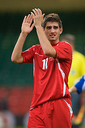 CARDIFF, WALES - Saturday, October 11, 2008: Wales' Ched Evans walks off after the 2-0 victory over Liechtenstein during the 2010 FIFA World Cup South Africa Qualifying Group 4 match at the Millennium Stadium. (Photo by David Rawcliffe/Propaganda)