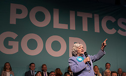 © Licensed to London News Pictures. 21/05/2019. London, UK. Brexit Party candidate Anne Widdecombe speaks at a European Election rally at Olympia in London. Voters are due to go to the polls in two days. Photo credit: Peter Macdiarmid/LNP