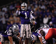 Kansas State quarterback Josh Freeman (1) during action against Nebraska at Bill Snyder Family Stadium in Manhattan, Kansas, October 14, 2006.  The Huskers beat the Wildcats 21-3.<br />