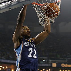 January 19, 2011; New Orleans, LA, USA; Memphis Grizzlies small forward Rudy Gay (22) dunks against the New Orleans Hornets during the first quarter at the New Orleans Arena.   Mandatory Credit: Derick E. Hingle