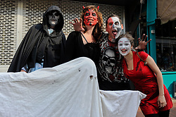 Brighton, UK. 29/04/2011. The Royal Wedding of HRH Prince William to Kate Middleton. People dressed as zombies in the North Laines area of Brighton on the Royal Wedding day. Photo credit should read: Peter Webb/LNP. Please see special instructions for licensing information. © under license to London News Pictures