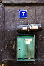 Mailbox on door in Bouxwiller, Alsace, France<br /> <br /> (c) Andrew Wilson | Edinburgh Elite media