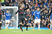 Arsenal celebrate Arsenal defender Nacho Monreal (18) goal 1-1 during the Premier League match between Everton and Arsenal at Goodison Park, Liverpool, England on 22 October 2017. Photo by Craig Galloway.