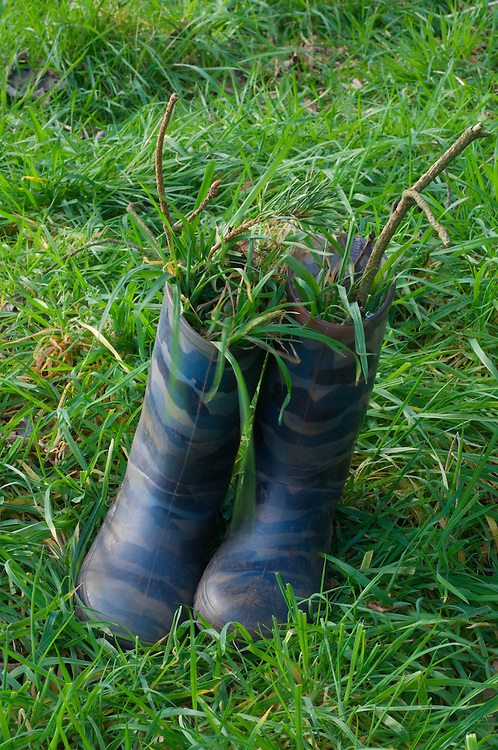 Young boy's  wellies filled with earth and grass, Scotland