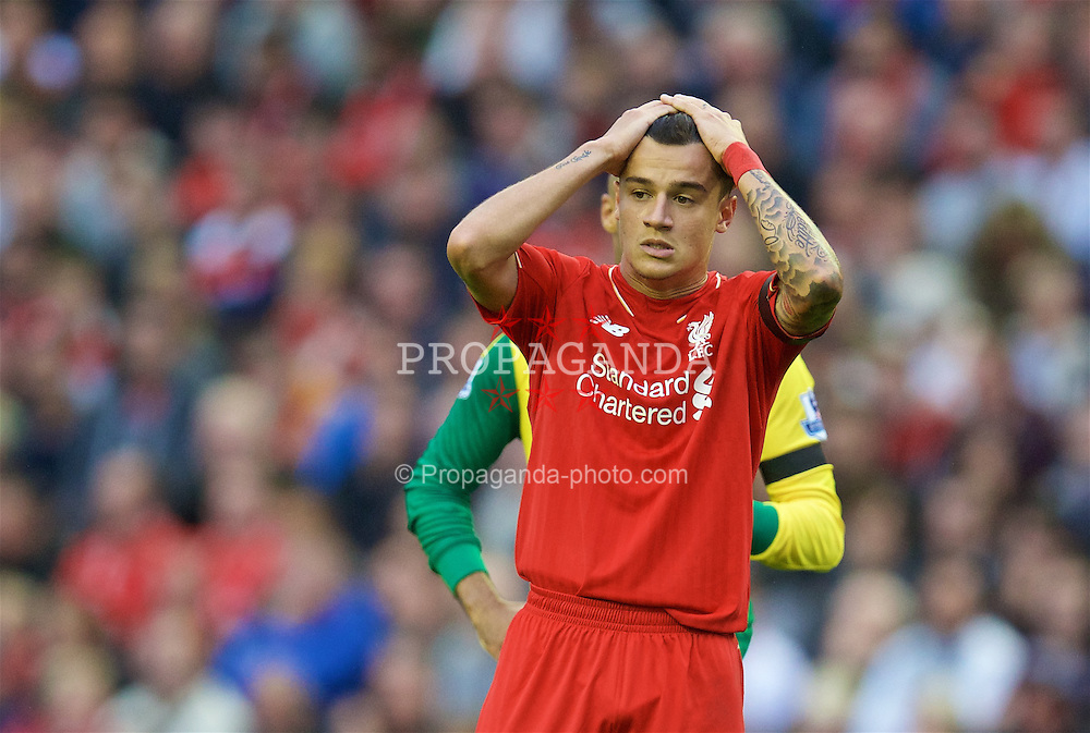 LIVERPOOL, ENGLAND - Sunday, September 20, 2015: Liverpool's Philippe Coutinho Correia looks dejected after missing a chance against Norwich City during the Premier League match at Anfield. (Pic by David Rawcliffe/Propaganda)