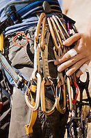 Climber with Carabiners Around Waist