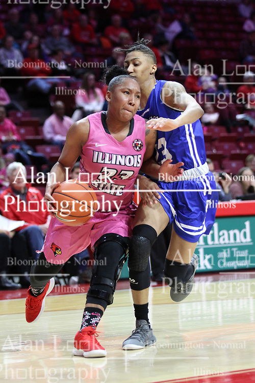 NORMAL, IL - February 10: Viria Livingston defended by Daijah Smith during a college women's basketball Play4Kay game between the ISU Redbirds and the Indiana State Sycamores on February 10 2019 at Redbird Arena in Normal, IL. (Photo by Alan Look)