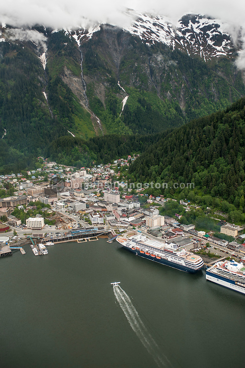 Aerial view of cruise ships in the Juneau harbor, Alaska.