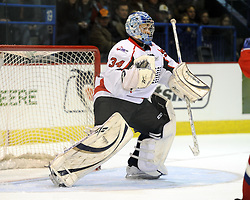 JP Anderson helped Team OHL to a 2-1 shootout win over Russia in Game 4 of the SUBWAY Super Series in Sudbury, ON on Monday Nov. 15, 2010.  Photo by Aaron Bell/OHL Images