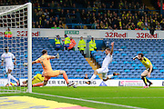 Leeds United's Kemar Roofe (7) forces a save from Burton's Jon McLaughlin (1) during the EFL Sky Bet Championship match between Leeds United and Burton Albion at Elland Road, Leeds, England on 29 October 2016. Photo by Richard Holmes.