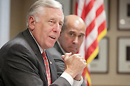 House majority leader Rep. Steny H. Hoyer, left, speaks during a roundtable discussion on health care policy at St. Francis Hospital in Poughkeepsie on Monday, Aug. 3, 2009. Rep. John Hall is at right.