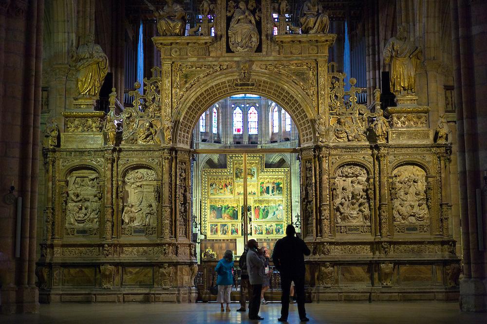 Altar screen in Cathedral de Santa Maria de Leon in Leon, Castilla y Leon, Spain