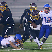 Milford DAVID BOWMAN (3) run up the middle during the 2017 DIAA Division II state championship game between the Delmar and Milford Saturday, Dec. 02, 2017 at Delaware Stadium in Newark, DE.
