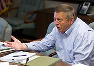 Cedar Falls Mayor Jon Crews talks with a reporter at City Hall in Cedar Falls, Iowa on Tuesday, July 10, 2012.