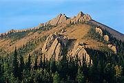 Tors or erosion pillars on Ogilvie Mountains Km 200<br /> Dempster Highway<br /> Yukon<br /> Canada