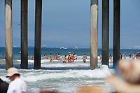 Huntington Beach, CA - August 06: Beach scene under the pier at the Vans US Open of Surfing in Huntington Beach, California on August 6, 2017. (Photo Jim Kruger/Kruger-images.com)