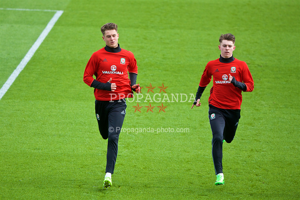 CARDIFF, WALES - Tuesday, March 21, 2017: Wales' Joe Rodon (Swansea City) and Ben Woodburn (Liverpool) during a training session at the Vale Resort ahead of the 2018 FIFA World Cup Qualifying Group D match against Republic of Ireland. (Pic by David Rawcliffe/Propaganda)