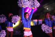 Los Angeles Rams cheerleaders perform during halftime of an NFL football game between the Rams and Seattle Seahawks, Sunday, Dec. 8, 2019, in Los Angeles, Calif. The Rams defeated the Seahawks 28-12. (Peter Klein/Image of Sport)