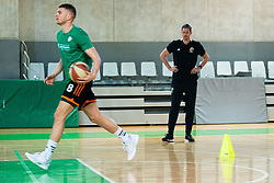 Edo Muric of Cedevita Olimpija and Jurica Golemac, new head coach during his first practice with team KK Cedevita Olimpija on January 28, 2020 in Arena Stozice, Ljubljana, Slovenia. Photo By Grega Valancic / Sportida