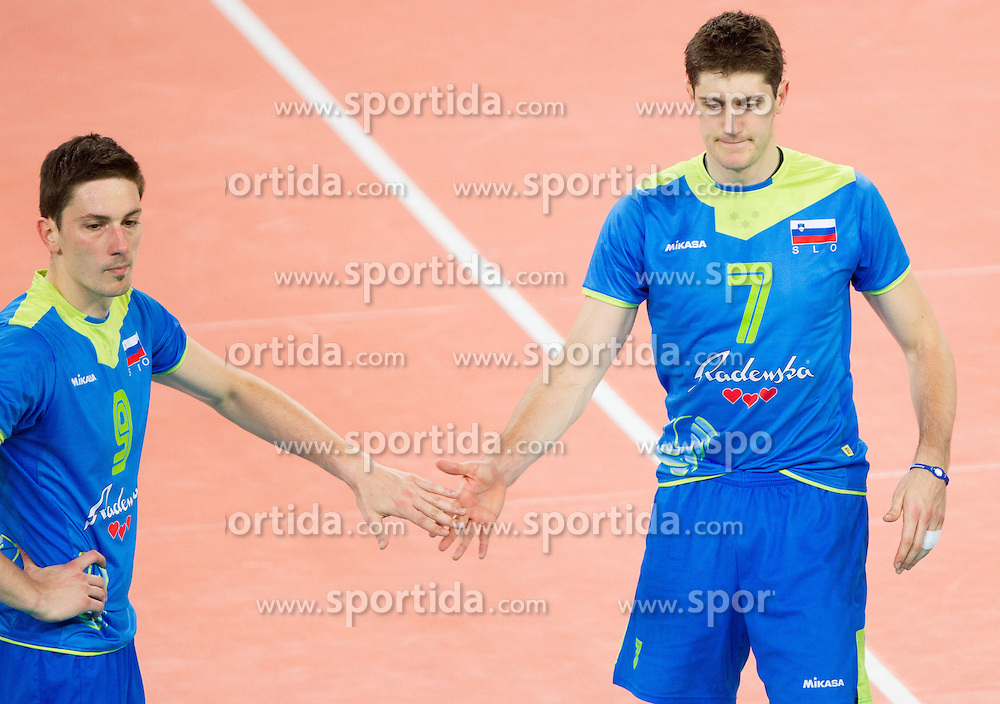 Dejan Vincic 39 of Slovenia and Matevz Kamnik #7 of Slovenia during qualifications match of FIVB Men's Volleyball World Championship 2014 between National teams of Slovenia and Israel in pool B on May 25, 2013 in Arena Stozice, Ljubljana, Slovenia. Slovenia defeated Hungary 3-0. (Photo By Vid Ponikvar / Sportida)