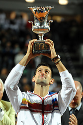 15.05.2011, Foro Italico, Rom, ITA, ATP World Tour, Rome Masters, im Bild Novak Djokovic of Serbia celebrates after winning the final of Atp Internazionali BNL d'Italia against Rafael Nadal of Spain.Roma 15/5/2011 Foro Italico.Internazionali BNL d'Italia - Tennis.. EXPA Pictures © 2011, PhotoCredit: EXPA/ InsideFoto/ Andrea Staccioli +++++ ATTENTION - FOR AUSTRIA/AUT, SLOVENIA/SLO, SERBIA/SRB an CROATIA/CRO CLIENT ONLY +++++