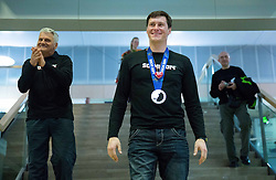 Ante Kostelic and his son Ivica Kostelic of Croatia, silver medallist during reception at arrival from Sochi Winter Olympic Games 2014 on February 23, 2014 in Airport Zagreb, Croatia. Photo by Vid Ponikvar / Sportida