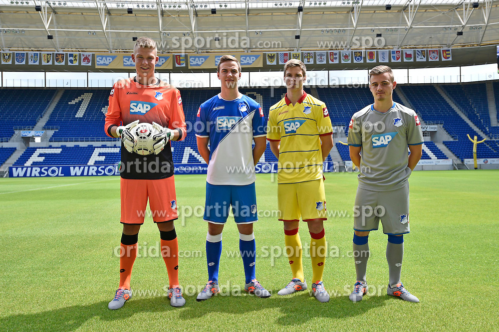 06.07.2014, Wirsol Rhein Neckar Arena, Sinsheim, GER, 1. FBL, TSG 1899 Hoffenheim, Training, im Bild Praesentation neuer Trikots // during a Trainingssession of German Bundesliga Club TSG 1899 Hoffenheim at the Wirsol Rhein Neckar Arena in Sinsheim, Germany on 2014/07/06. EXPA Pictures &copy; 2014, PhotoCredit: EXPA/ Eibner-Pressefoto/ Weber<br /> <br /> *****ATTENTION - OUT of GER*****