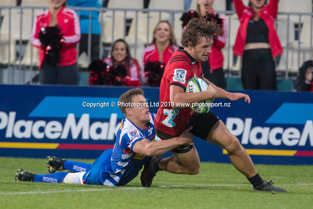 George Bridge about to score during the Crusaders v Stormers, Super Rugby week 2 match, AMI Stadium, Christchurch, New Zealand. 24th February 2018. Copyright photo: Craig Morrison / www.photosport.nz