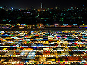 05 MARCH 2019 - BANGKOK, THAILAND:  Overall view of the Ratchada Night Market, the newest night market in Bangkok. It was originally a small night market popular with local people but now is tourism destination. Most nights the market is jammed with foreign tourists.   PHOTO BY JACK KURTZ