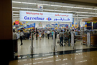 Carrefour in the Mall of the Emirates. Dubai, one of the seven emirates and the most populous of the United Arab Emirates sits on the southern coast of the Persian gulf.