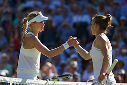 03.07.2014, All England Lawn Tennis Club, London, ENG, WTA Tour, Wimbledon, Tag 10, im Bild Eugenie Bouchard (CAN) shakes hands with Simona Halep (ROU) after winning the Ladies' Singles Semi-Final match 7-6 (5), 6-2 on day ten // during day 10 of the Wimbledon Championships at the All England Lawn Tennis Club in London, Great Britain on 2014/07/03. EXPA Pictures &copy; 2014, PhotoCredit: EXPA/ Propagandaphoto/ David Rawcliffe<br /> <br /> *****ATTENTION - OUT of ENG, GBR*****