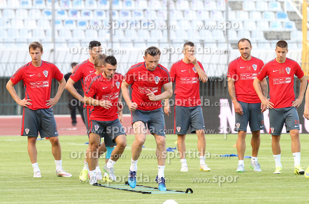 11.06.2015, Stadion Poljud, Split, CRO, UEFA Euro 2016 Qualifikation, Kroatien vs Italien, Gruppe H, Training Kroatien, im Bild Ivica Olic, Danijel Pranjic // during trainig of Team Croatia prior to the UEFA EURO 2016 qualifier group H match between Croatia and and Italy at the Stadion Poljud in Split, Croatia on 2015/06/11. EXPA Pictures © 2015, PhotoCredit: EXPA/ Pixsell/ Ivo Cagalj<br /> <br /> *****ATTENTION - for AUT, SLO, SUI, SWE, ITA, FRA only*****