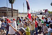 Apr. 19, 2009 -- PHOENIX, AZ: About 2,000 people marched from the Arizona State Capitol to Cesar Chavez Plaza in downtown Phoenix Sunday. The march was organized by the United Farm Workers of America to promote immigration reform.  Photo by Jack Kurtz