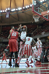 15 February 2014:  Jamaal Samuel takes control of a rebound during an NCAA Missouri Valley Conference (MVC) mens basketball game between the Bradley Braves and the Illinois State Redbirds  in Redbird Arena, Normal IL.